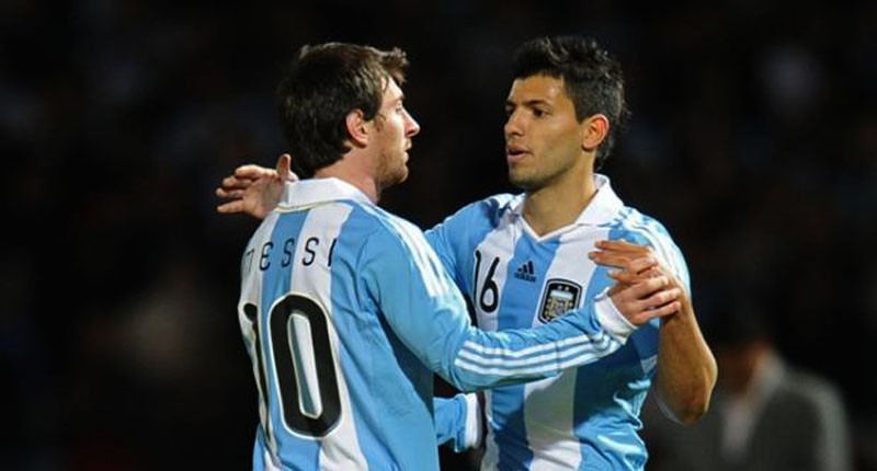Messi and Aguero celebrating Argentina goal