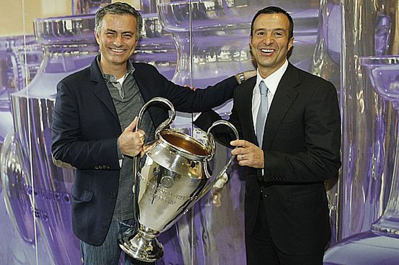 Mourinho and Jorge Mendes, holding the Champions League trophy