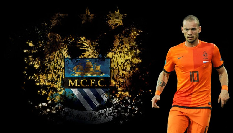 Wesley Sneijder in a Manchester City wallpaper