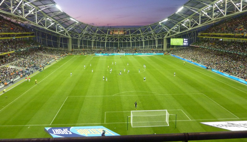 Football match perspective from the stands