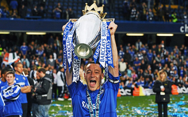 John Terry holding the Premier League trophy