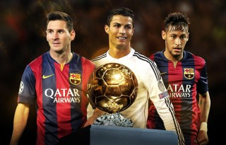 The 2015 FIFA Ballon d'Or nominees, Messi, Ronaldo and Neymar