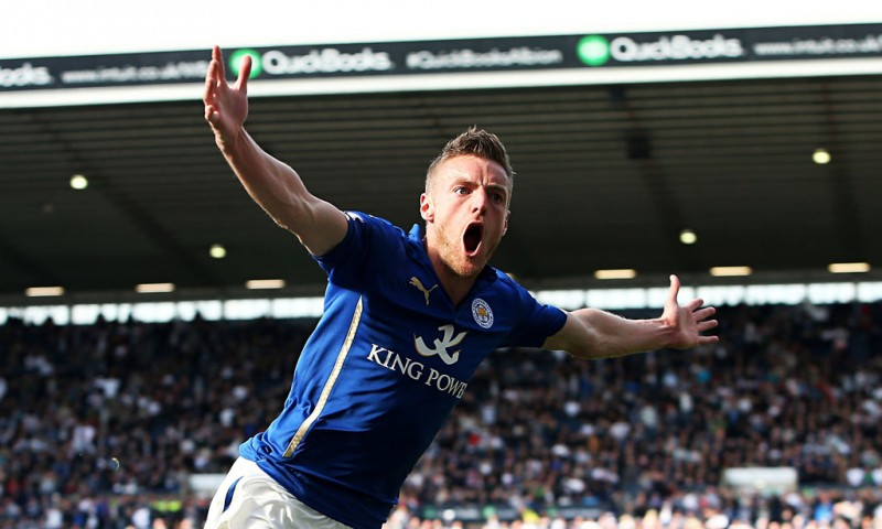 Jamie Vardy goal for Leicester City in 2015-2016, for the Barclays Premier League