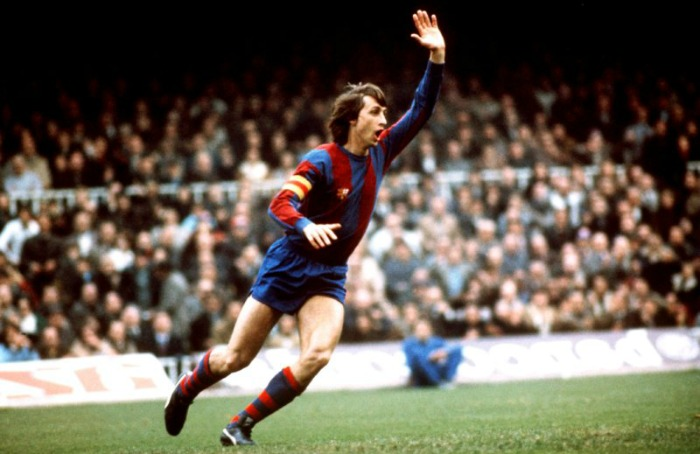 Johan Cruyff celebrating a goal for FC Barcelona