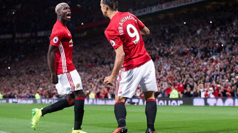 Pogba and Zlatan Ibrahimovic in Manchester United at Old Trafford in 2016-17