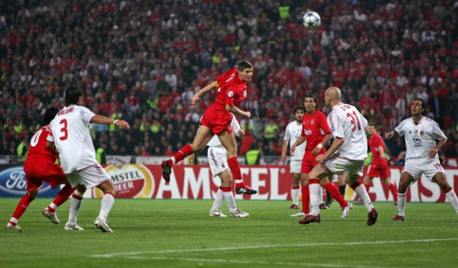 Steven Gerrard header goal in Istanbul, in Liverpool 3-3 AC Milan, in the 2005 Champions League Final