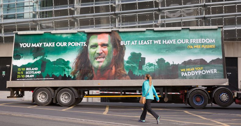 Paddy Power truck advert, you may take our points, but at least we have our freedom- Braveheart