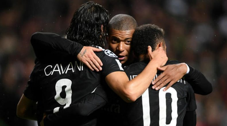 Cavani, Mbappé and Neymar Jr in PSG