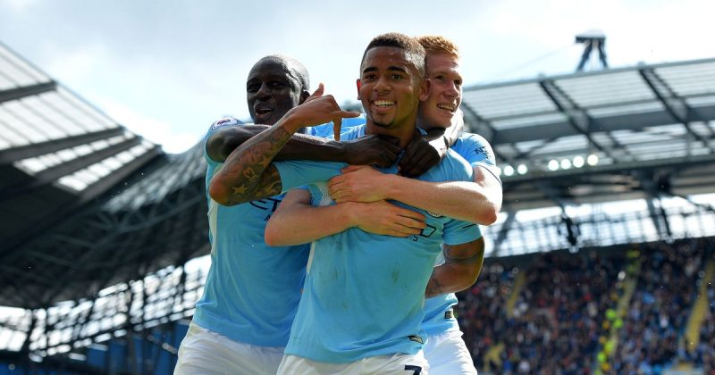Gabriel Jesus and Kevin de Bruyne celebrate a goal for Man City