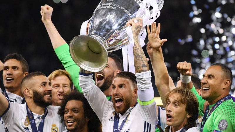 Sergio Ramos lifts the UEFA Champions League trophy for Real Madrid in 2018