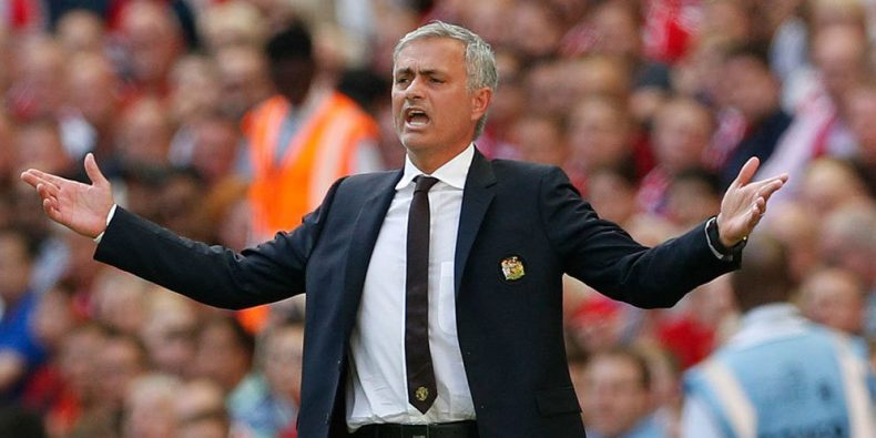 José Mourinho during a game for Manchester United