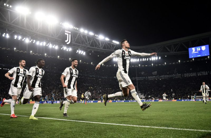 Cristiano Ronaldo leads Juventus celebrations in Champions League
